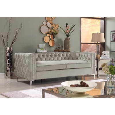 Marlon Chesterfield Sofa Upholstery: Silver