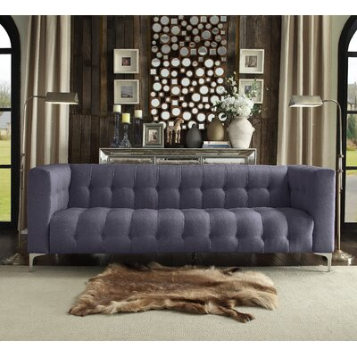 Sandi Linen Biscuit Tufted Silvertone Y-leg Sofa Upholstery: Grey