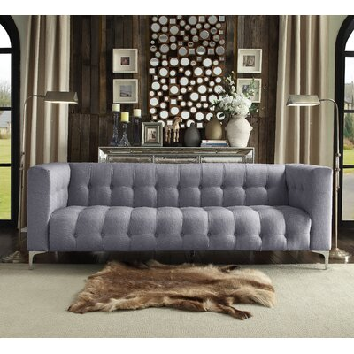 Sandi Linen Biscuit Tufted Silvertone Y-leg Sofa Upholstery: Smoke