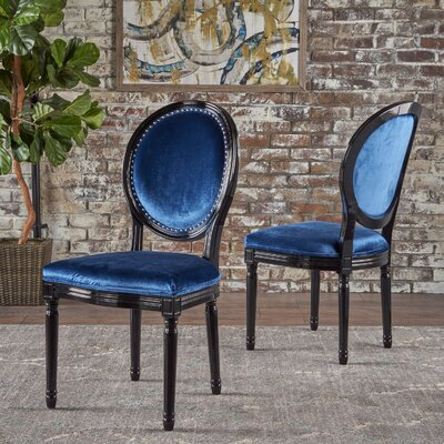 Chambray Upholstered Dining Chair Upholstery Color: Blue