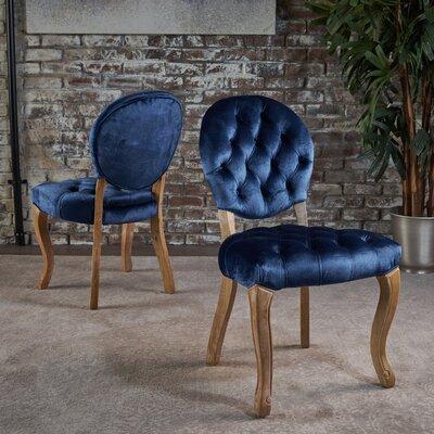 Saira Velvet Upholstered Dining Chair Upholstery Color: Blue