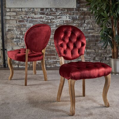 Saira Velvet Upholstered Dining Chair Upholstery Color: Garnet