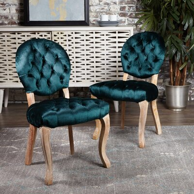 Saira Velvet Upholstered Dining Chair Upholstery Color: Teal