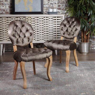 Saira Velvet Upholstered Dining Chair Upholstery Color: Gray