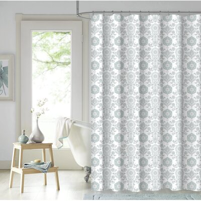 Larry 100% Cotton Shower Curtain Color: Spa Blue