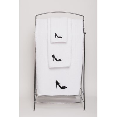 Shoe Embellished Hand Towel Color: Black/White