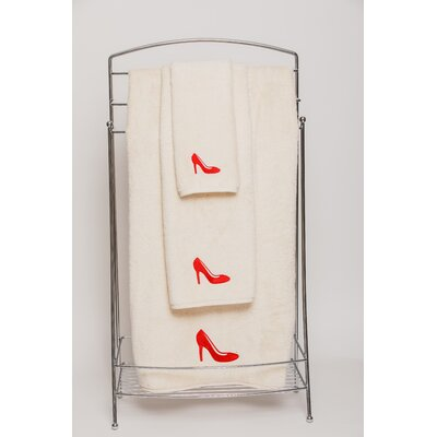 Shoe Embellished Hand Towel Color: Red/Ivory
