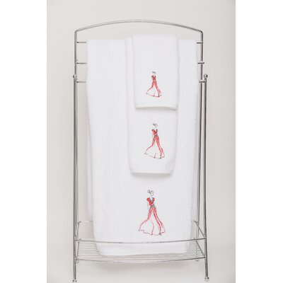 Red Embellished Hand Towel Color: White