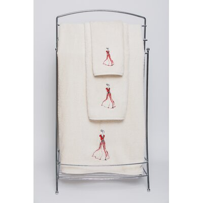 Red Embellished Hand Towel Color: Ivory