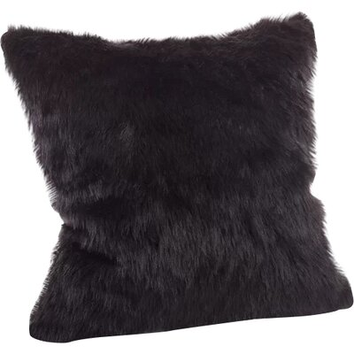 Loraine Square Faux Fur Throw Pillow Color: Black