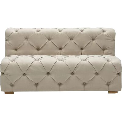 Pratt Tufted Twill Armless Loveseat Upholstery: Oatmeal