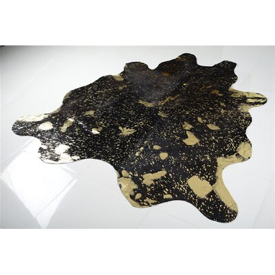 Alverson Metallic Cowhide Hand Woven Gold/Black Area Rug