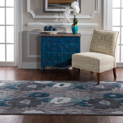 Waters Floral Gray Area Rug Rug Size: Rectangle 5 x 76
