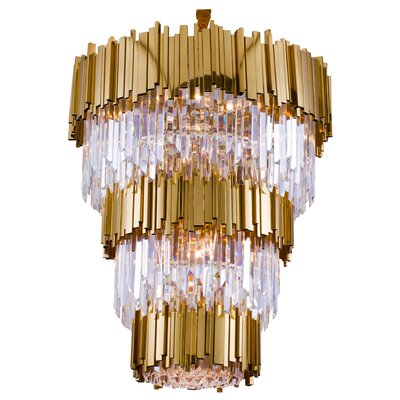 Dominguez 3-Tier Bar Rod Frame 18-Light Crystal Chandelier in , Gold