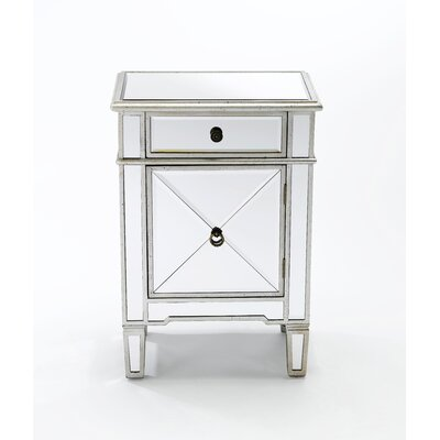 Almaraz Mirrored 1 Door 1 Drawer Nightstand