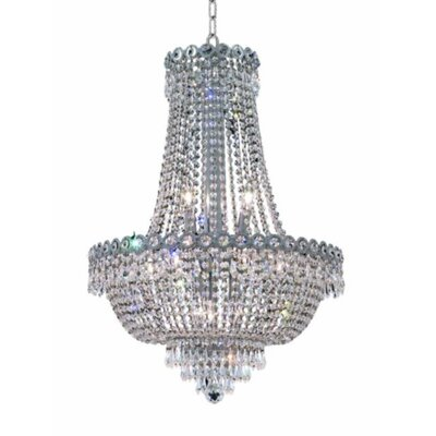 Lorna Glam 12-Light Empire Chandelier Size / Finish / Crystal Trim: 24 / Chrome / Elegant Cut