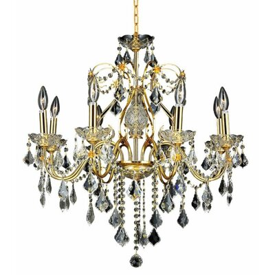Thao 8-Light Chain Crystal Chandelier Finish: Gold, Crystal Trim: Royal Cut