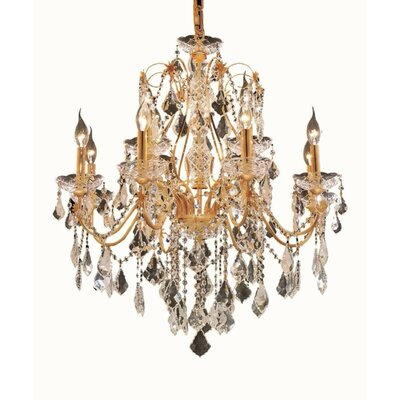 Thao 12-Light Chain Crystal Chandelier Finish: Gold, Crystal Trim: Elegant Cut