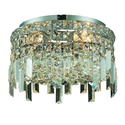 Bratton 4-Light Crystal Semi Flush Mount Size / Crystal Grade: 12 / Elegant Cut