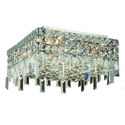 Bratton 4-Light 60W Semi Flush Mount Crystal Grade: Royal Cut
