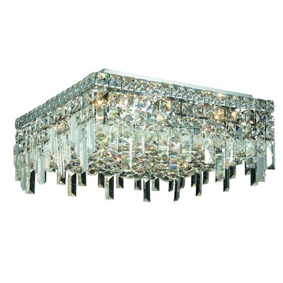Bratton 6-Light 60W Semi Flush Mount Crystal Grade: Spectra Swarovski