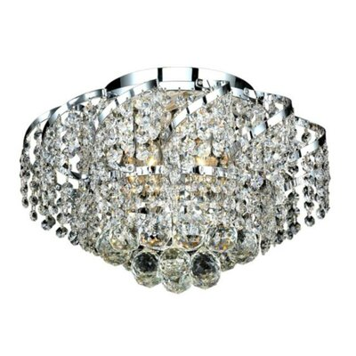 Antione 6-Light Flush Mount Finish: Chrome, Crystal Grade: Elegant Cut