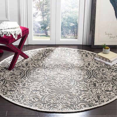 Marys Hand Tufted Wool Dark Gray Area Rug Rug Size: Round 6