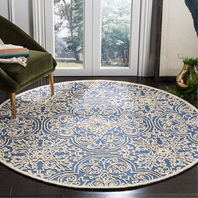 Marys Rustic Hand Tufted Wool Blue Area Rug Rug Size: Round 6