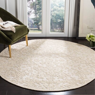 Marys Hand Tufted Wool Ivory Area Rug Rug Size: Round 6