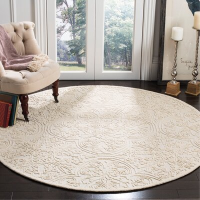 Marys Rustic Hand Tufted Wool Ivory Area Rug Rug Size: Round 6