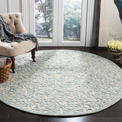 Marys Hand Tufted Wool Blue Area Rug Rug Size: Round 6