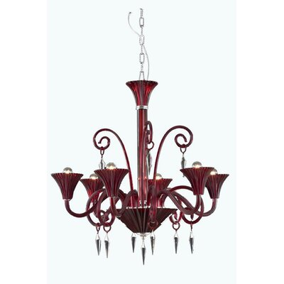 Katherin 6-Light Shaded Chandelier Finish: Red, Crystal Grade: Spectra Swarovski