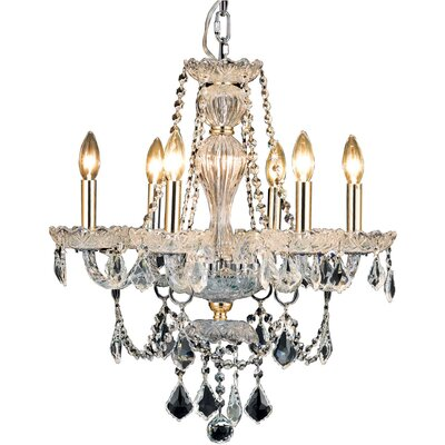 Lesli 6-Light Crystal Chandelier Finish: Gold