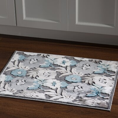 Waters Floral Gray Area Rug Rug Size: Rectangle 2 x 3