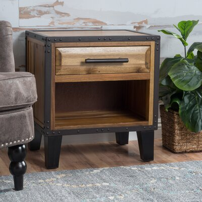 Kellan 1 Drawer Acacia Wood Nightstand