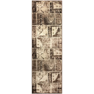Kelsie Ivory/Brown Area Rug Rug Size: Runner 27 x 8