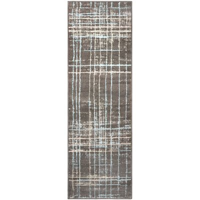 Calista Painted Stripes Gray Area Rug Rug Size: Runner 27 x 8