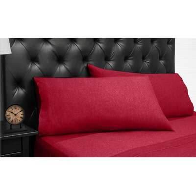 Bari Jersey 3 Piece 100% Cotton Sheet Set Size: Full, Color: Red