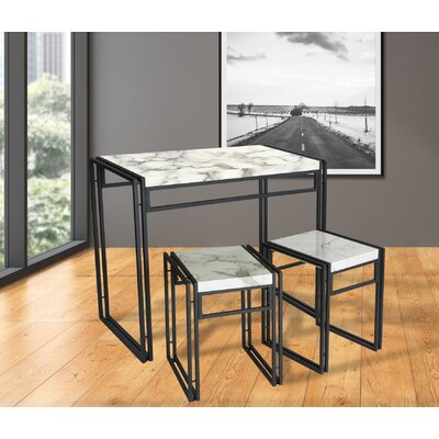 Debby Small Space 3 Piece Dining Set Top Finish/Frame Finish: Faux Marble/Dark Gray