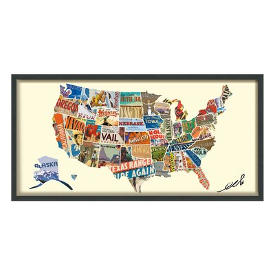 "Across America"" Dimensional Collage Framed Graphic Art Under Glass WLFR6441 45190900"
