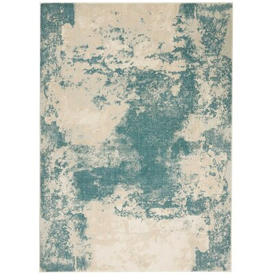 Mana Ivory/Teal Area Rug Rug Size: Rectangle 53 x 73