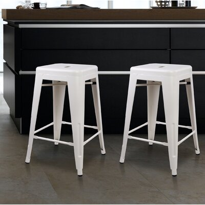 Caine 24 Bar Stool Color: Cream