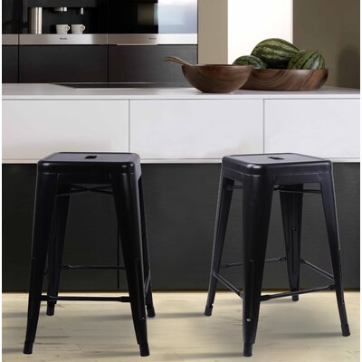 Caine 24 Bar Stool Color: Black