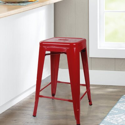 Caine 24 Bar Stool Color: Red