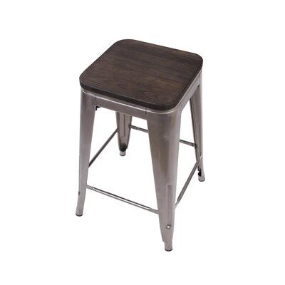 Calanthe 24 Bar Stool Frame Color: Gunmetal, Seat Color: Gray