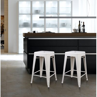 Caine 24 Bar Stool Color: White