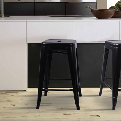 Caine 24 Bar Stool Color: Black