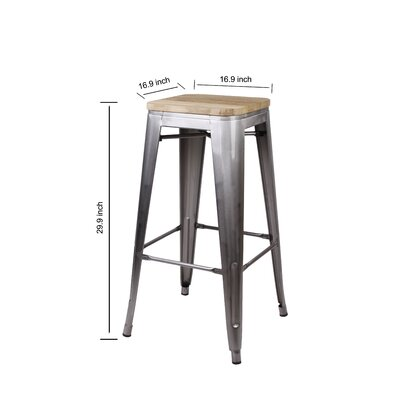 Calanthe 30 Bar Stool Frame Color: Gunmetal, Seat Color: Nature