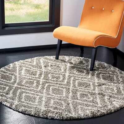 Cammie Gray/Ivory Area Rug Rug Size: Round 5