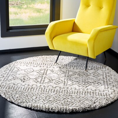 Cammie Ivory/Gray Area Rug Rug Size: Round 5